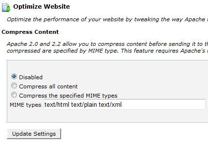 cPanel Optimize Websites