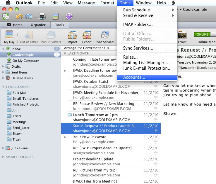 Mac Outlook Email Setup